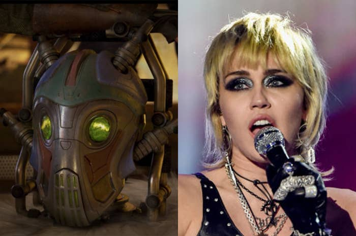 Miley played a decapitated robot head