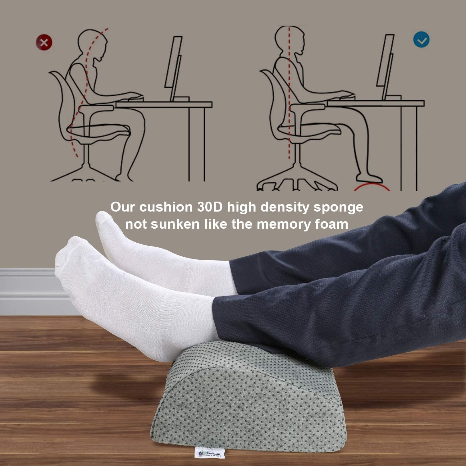 A person with their feet resting on the cushion