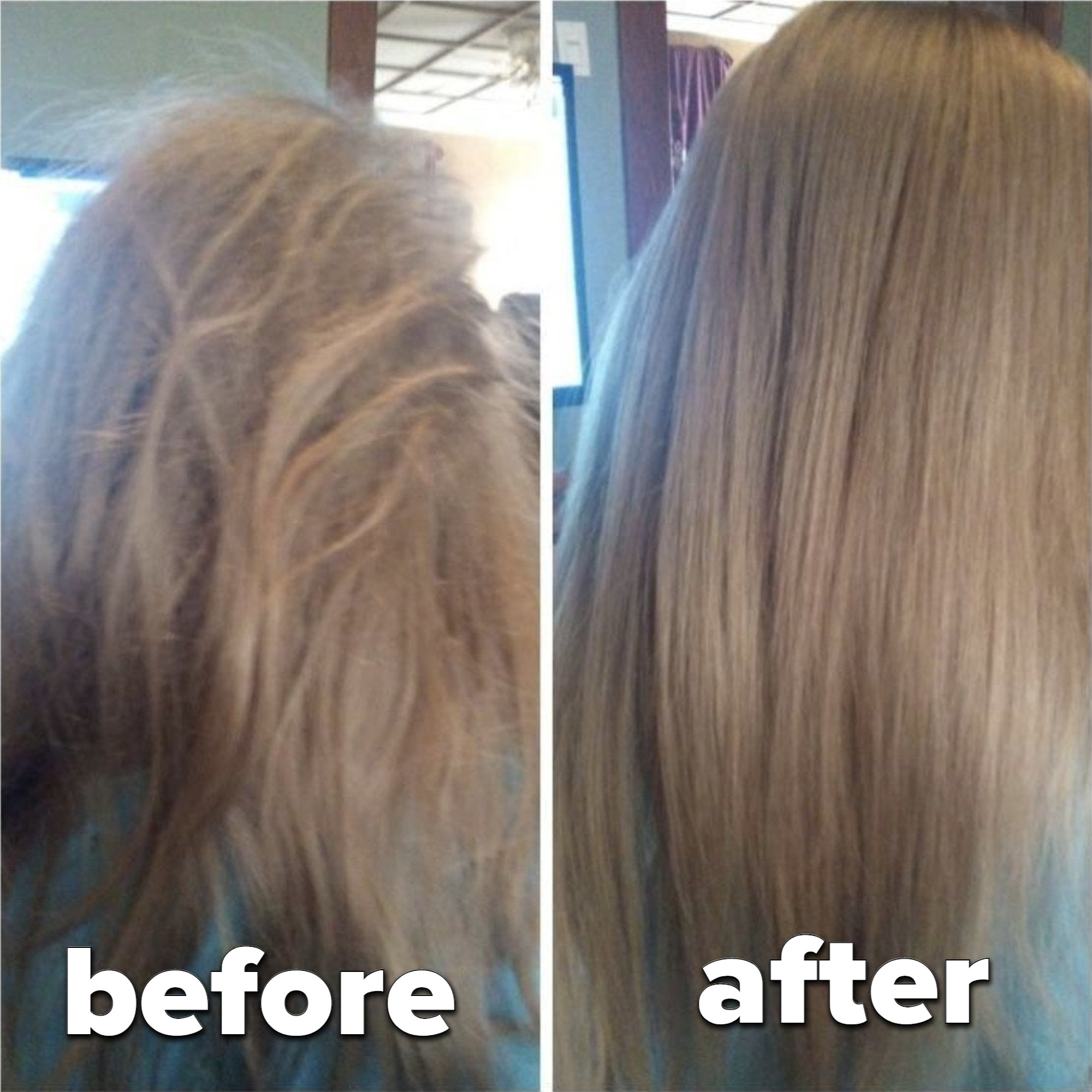A before and after of brushed hair