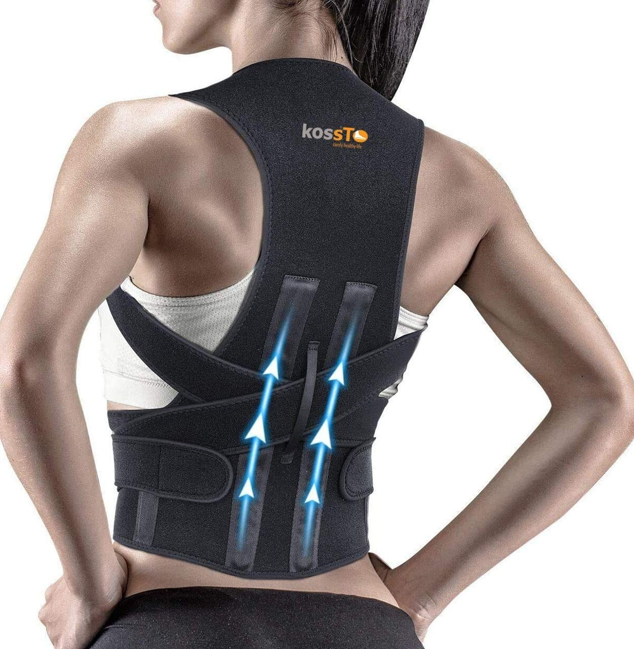 A woman wearing the posture corrector