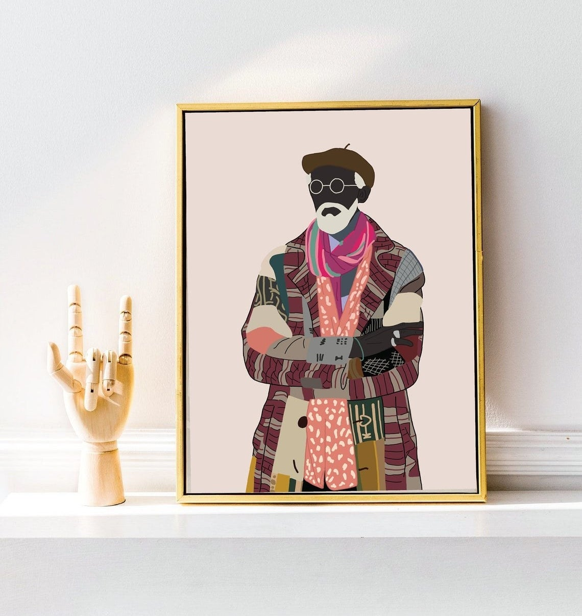 Illustrated print of an elderly man with a gray beard and a super colorful patchwork jacket, with a patterned shirt and colorful scarf underneath