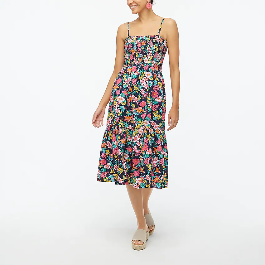 midi dress with bright flowers