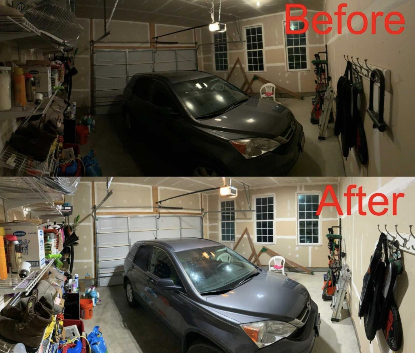 A before and after of a car garage lights
