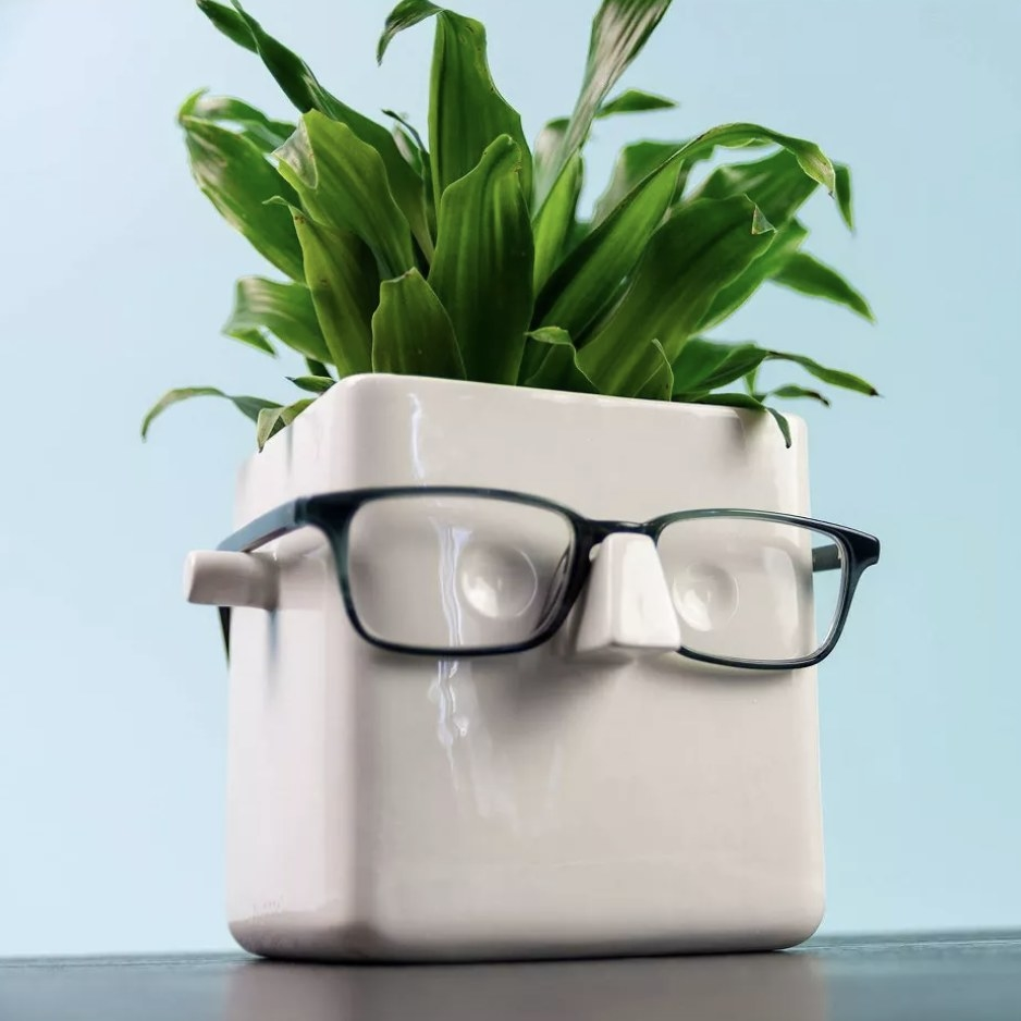 The planter with glasses on it