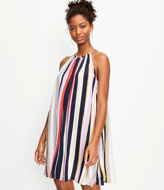 swing dress with vertical stripes