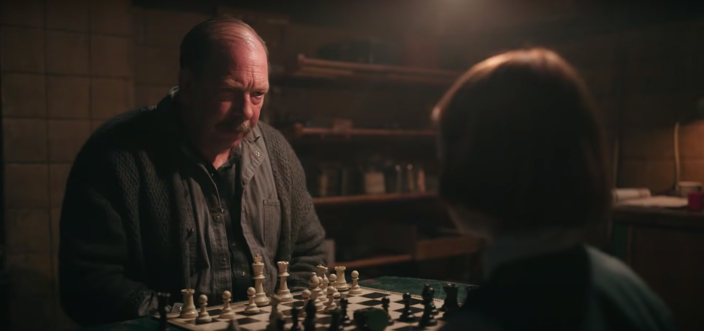 """Mister Shaibel and Beth playing chess in """"The Queen's Gambit"""""""