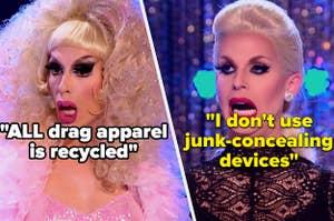 Katya and Alaska look shocked by the drag secrets
