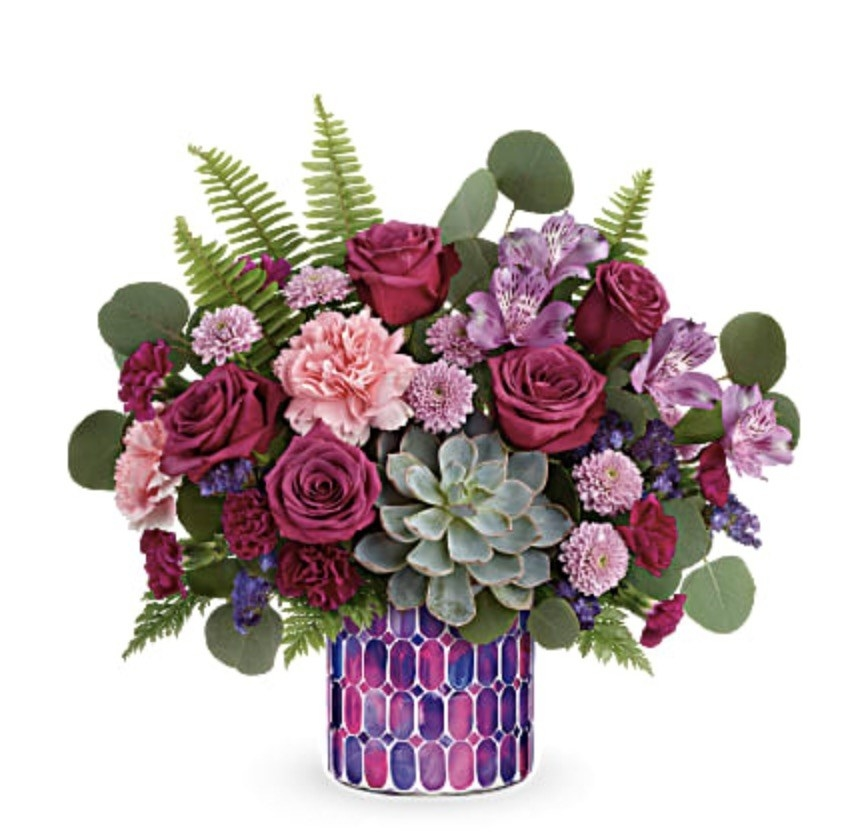 pink, purple, and green bouquet of flowers