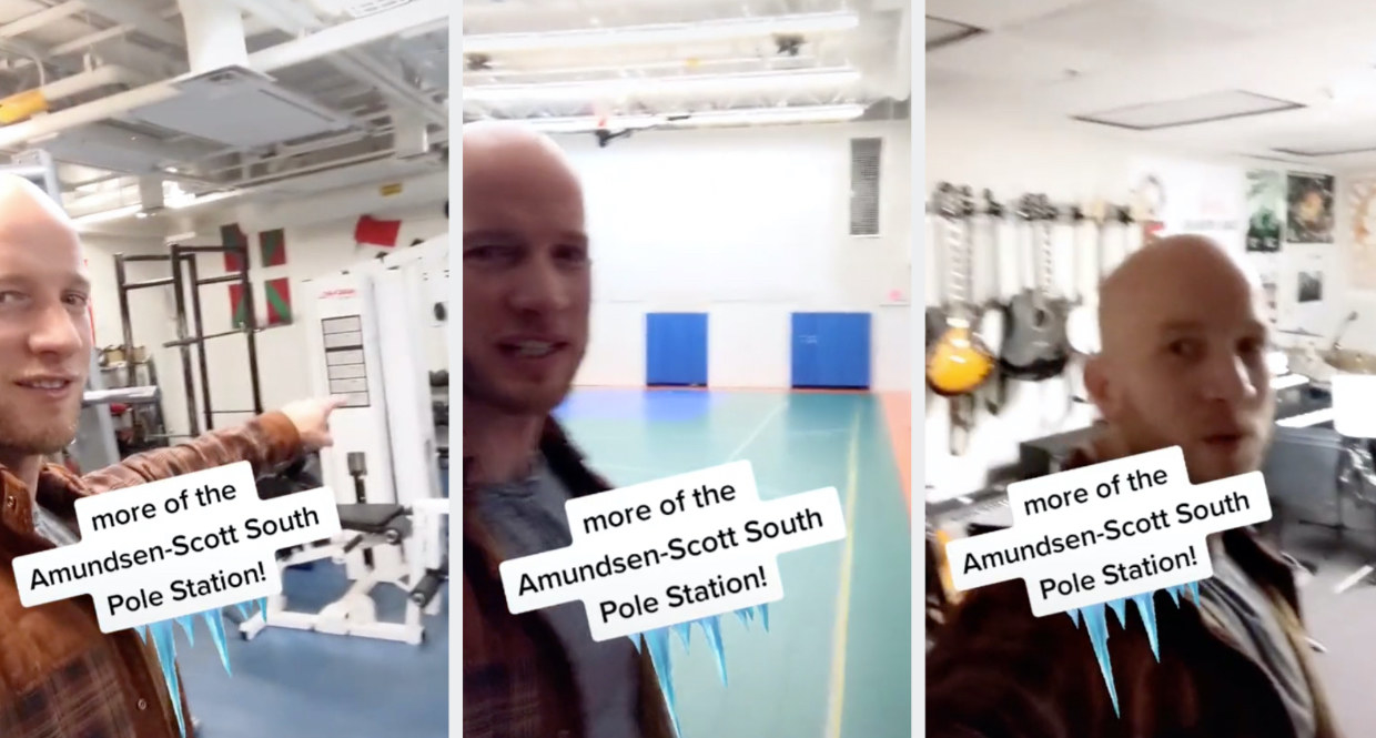 Joe showing the weight room, gym, and music room