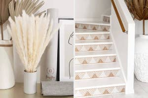 (left) Pampas grass (right) tan triangle stair stickers