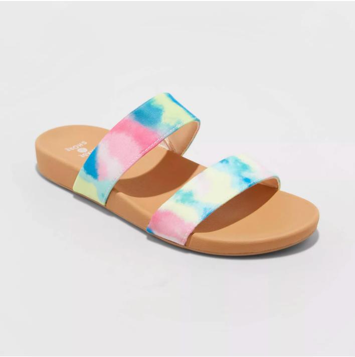 a two-band sandal that is pastel tye-dye colored
