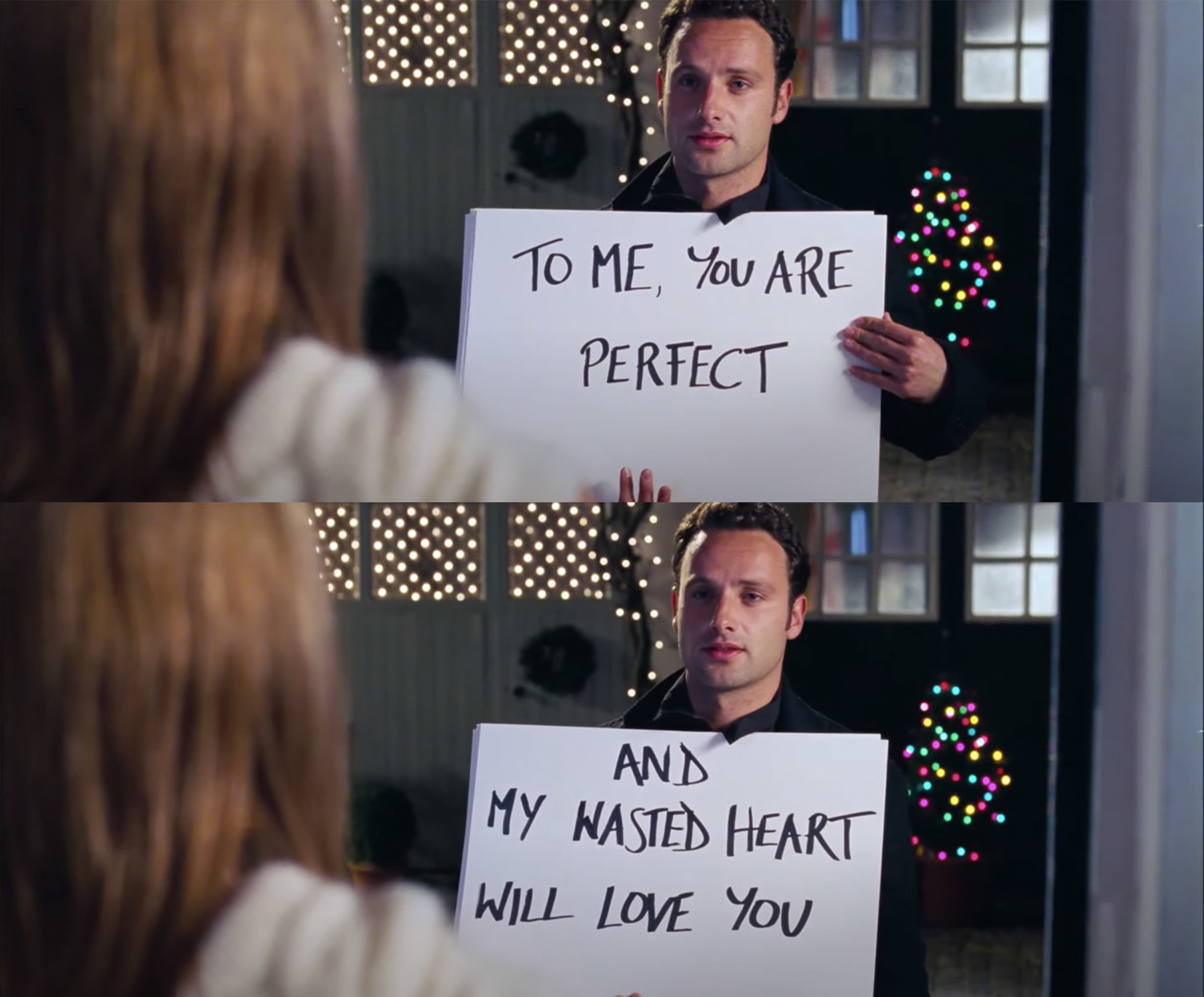 """His posters say, """"to me you are perfect, and my wasted heart will love you"""""""