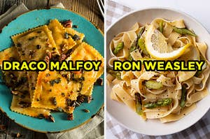 "On the left, a plate of pumpkin ravioli labeled ""Draco Malfoy,"" and on the right, some fettuccine with lemon and asparagus labeled ""Ron Weasley"""