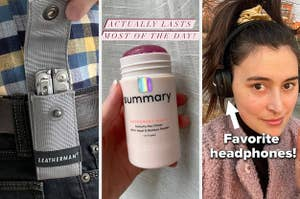 "on the left a leatherman multitool, in the middle, in the middle summary natural deodorant captioned ""actually lasts most of the day,"" on the eight marshall headphones captioned ""favorite headphones"""