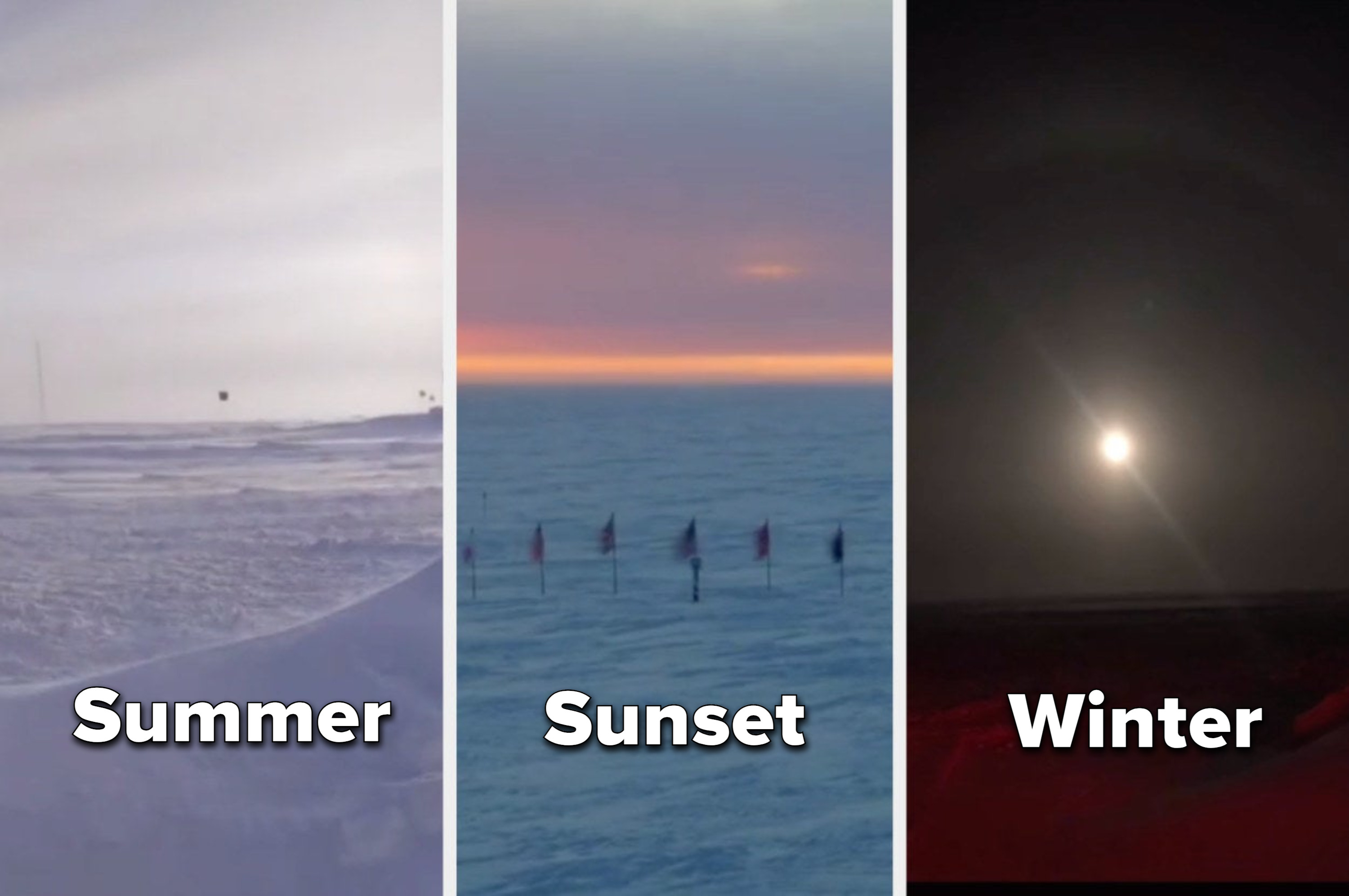 pictures of it light in summer, half dark at sunset, and pitch black in winter