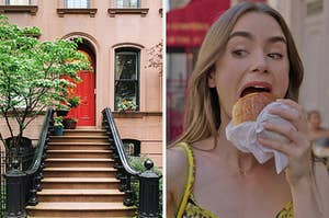 """On the left, the exterior of a townhouse in Brooklyn with steps leading up to the door and trees surrounding it, and on the right, Lily Collins eating a pain au chocolat as Emily in """"Emily in Paris"""""""