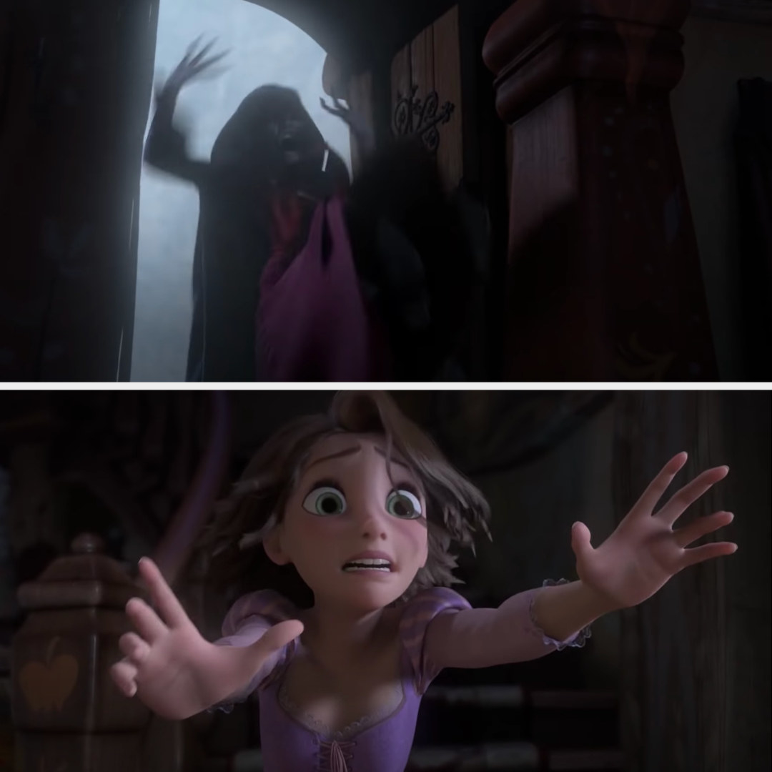Rapunzel reaching for Gothel as she falls out the window