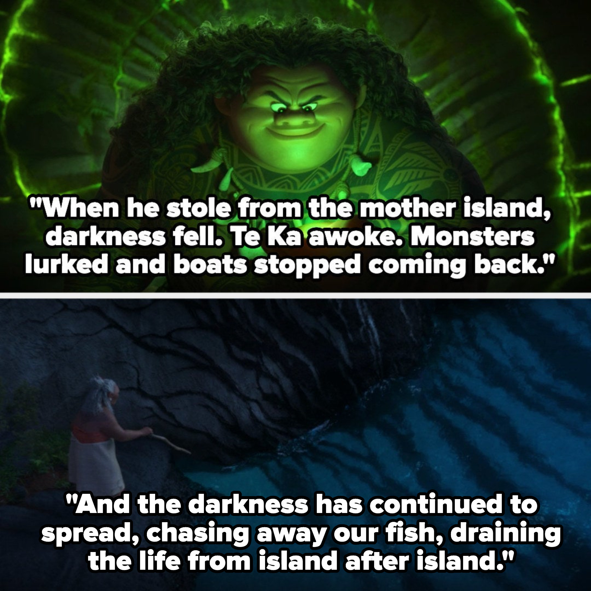 Tala telling Moana about darkness falling and spreading from island to island after Maui stole the heart