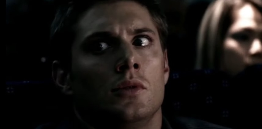 Dean Winchester looking terrified on a plane