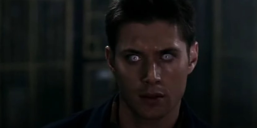 Dean Winchester with white pupils
