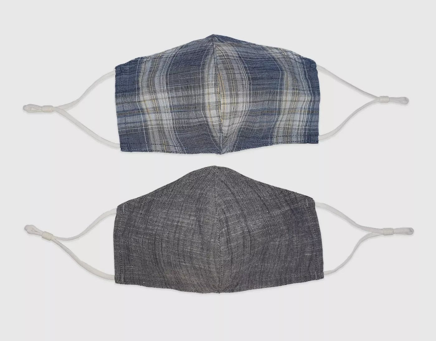 The plaid and gray fabric masks