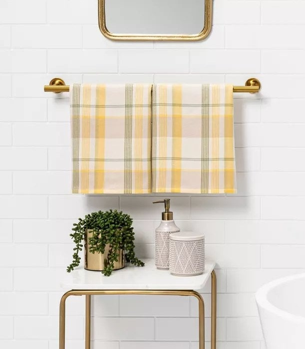 The yellow and green plaid hand towels