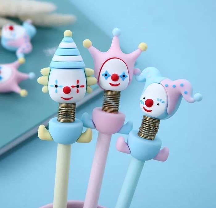 clown pens with spring necks