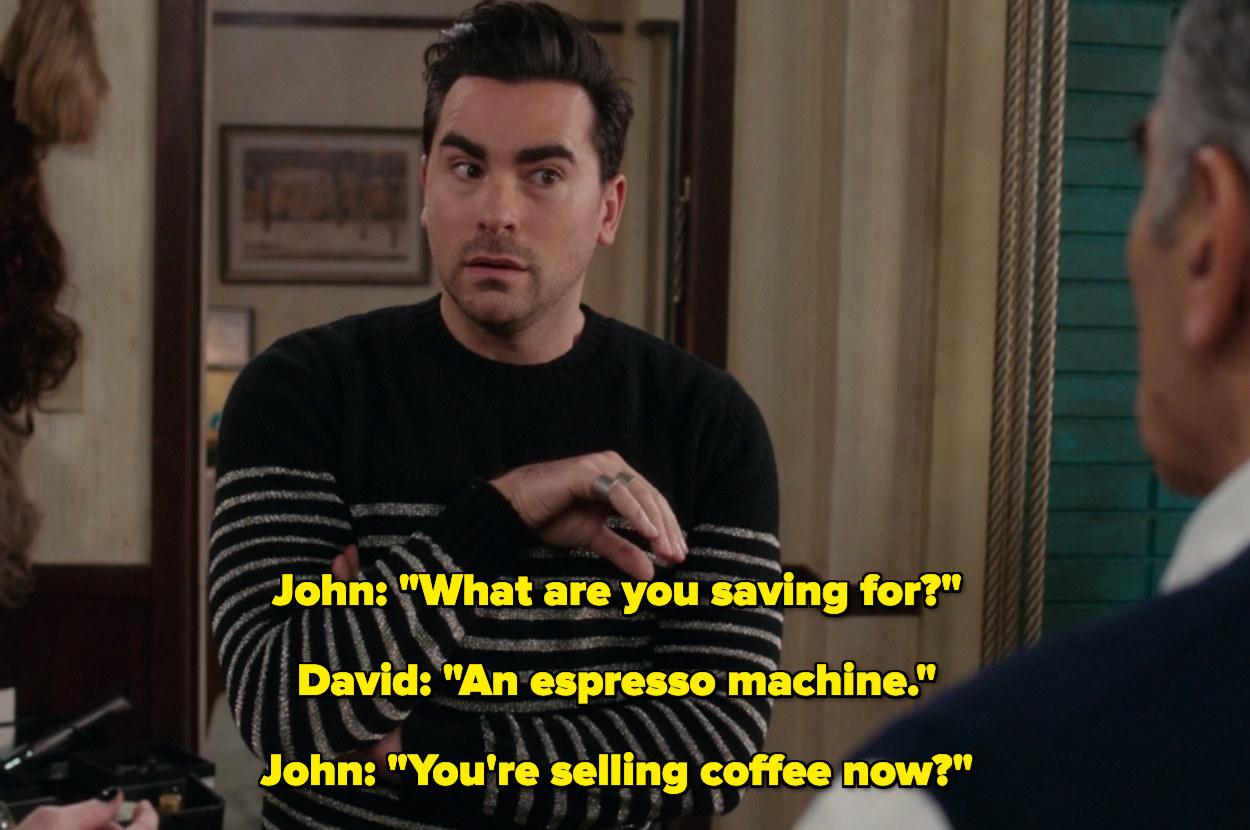 David saying he's saving for an espresso machine