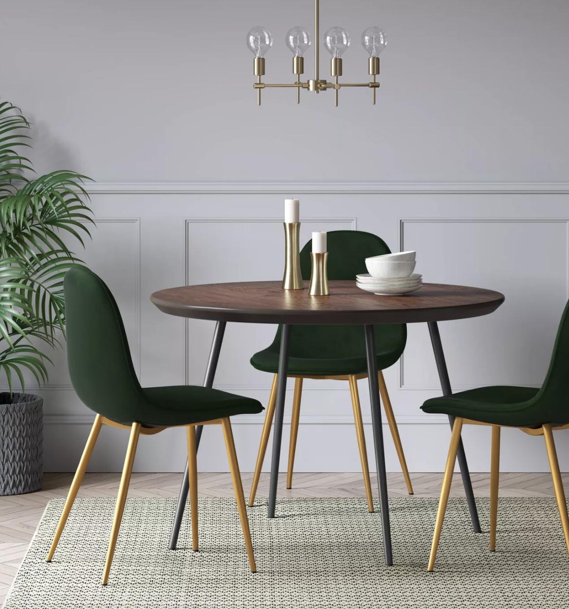 the green velvet chairs