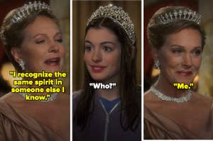 Julie Andrews and Anne Hathaway as Queen Clarisse and Mia Thermopolis in