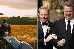 """A girl sits on the hood of a car looking out into a field and Jesse Tyler Ferguson as Mitchell Pritchett and Eric Stonestreet as Cameron Tucker in the show """"Modern Family."""""""