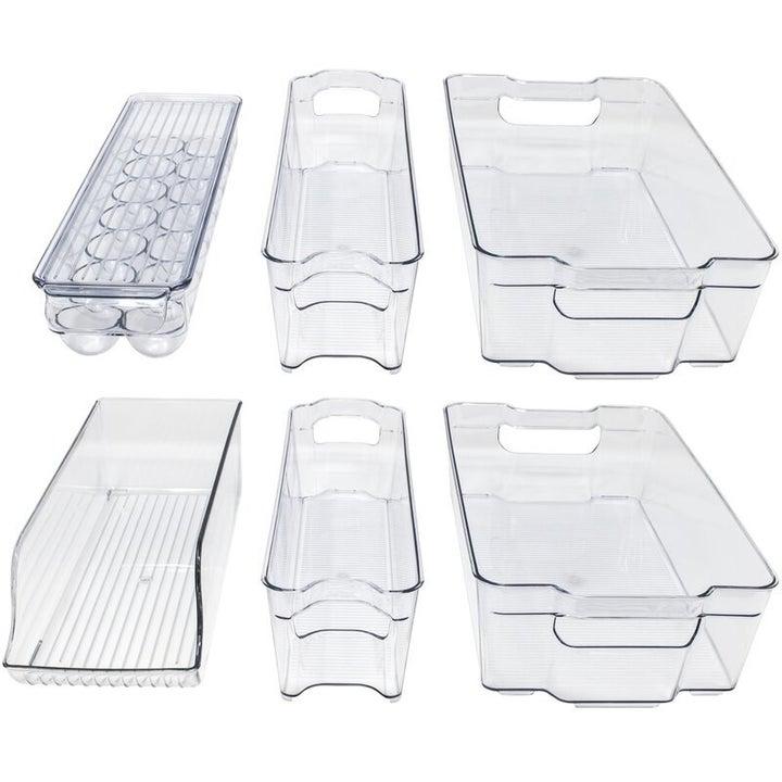 a set of clear acrylic fridge storage bins