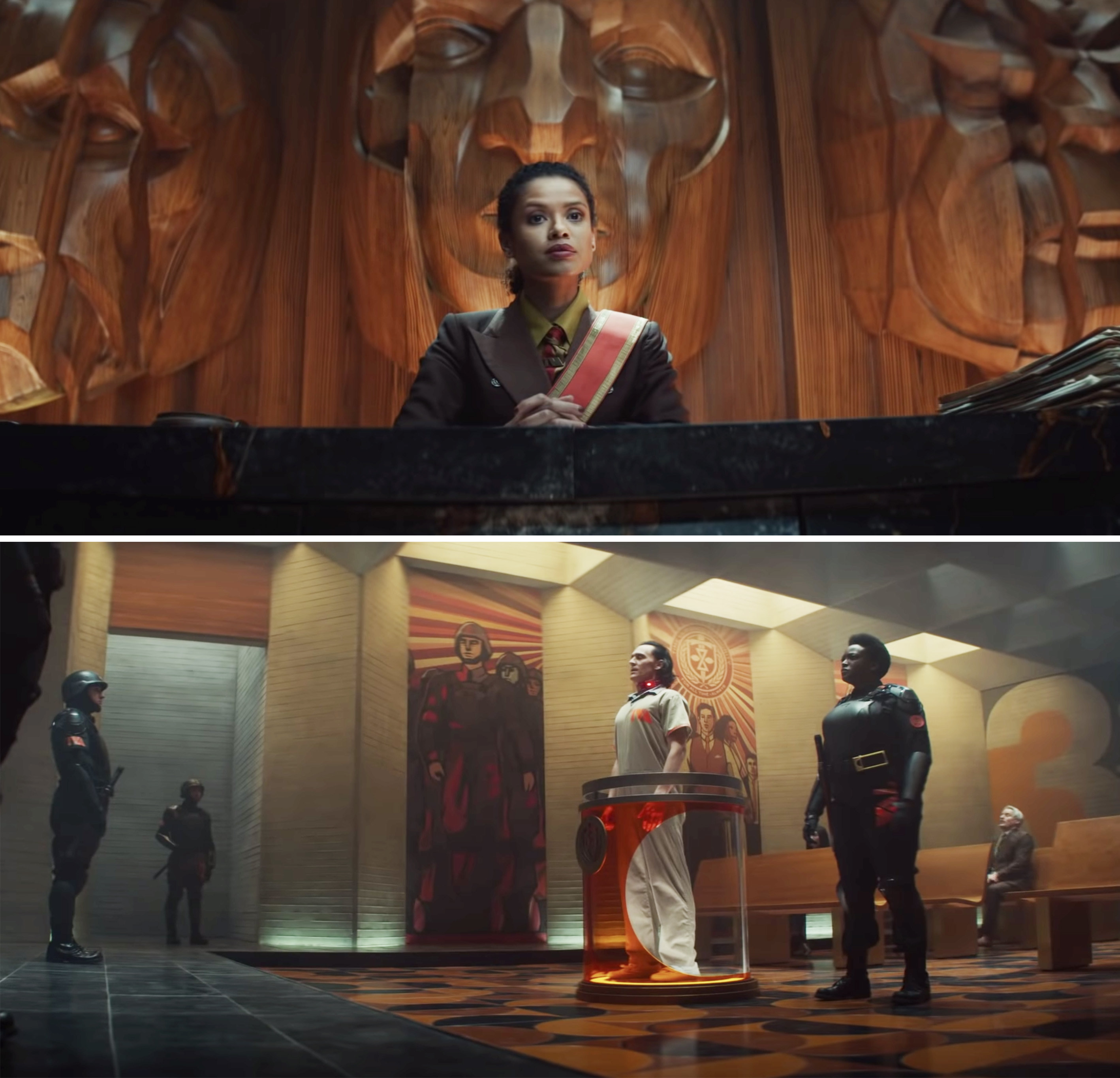 Loki being guarded as he stands before the TVA