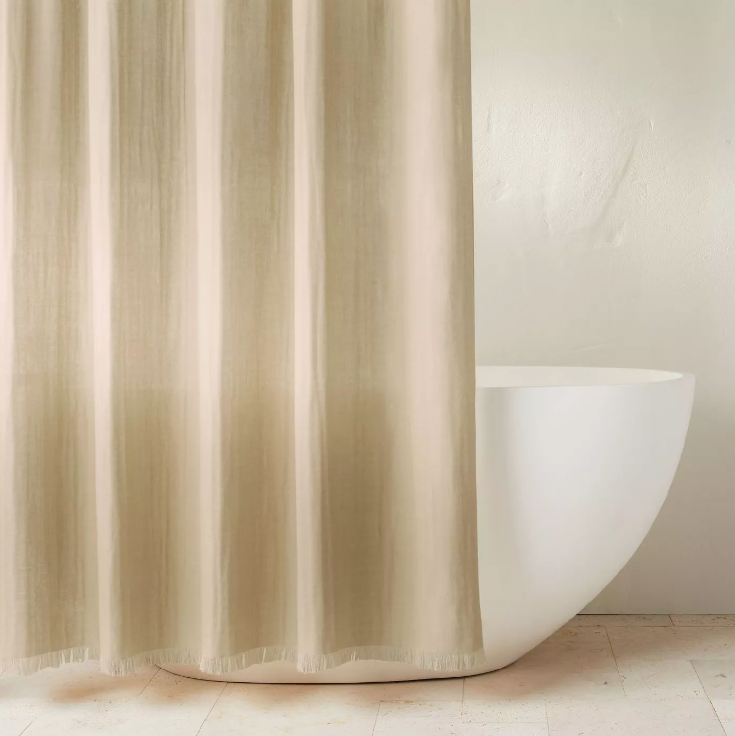 The shower curtain in khaki