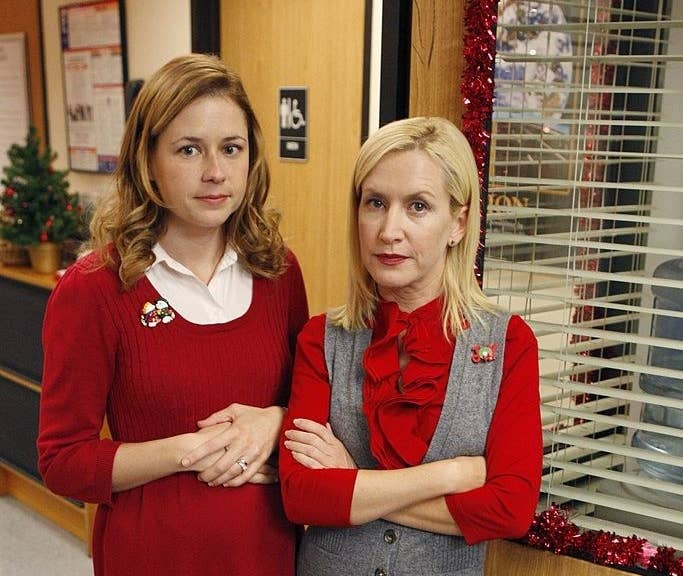 left to right Jenna Fischer as Pam Beesly, Angela Kinsey as Angela Martin from the show the office