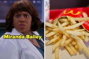 """Chandra Wilson as Miranda Bailey in the show """"Grey's Anatomy"""" and a large order of McDonald's French fries."""