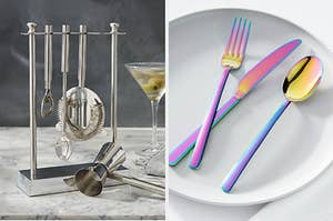 stainless steel bar set on the left and rainbow utensils on the right