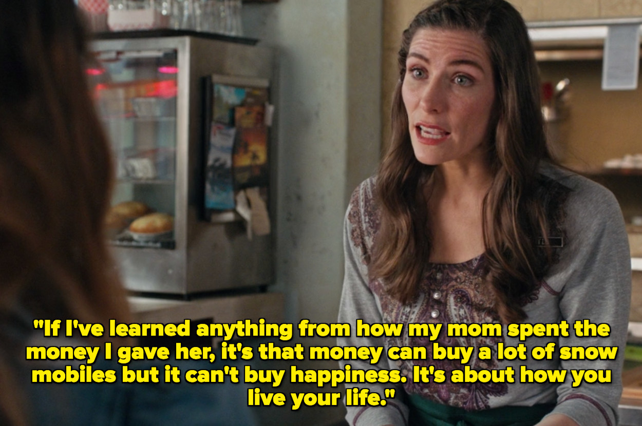Twyla saying that money can't buy happiness