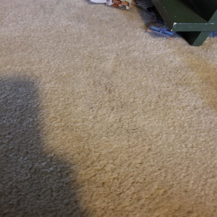 Beige carpet after using the spray, showing how the stain is now gone