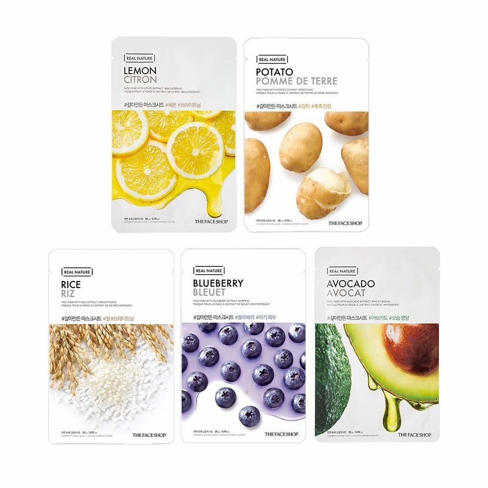 Lemon, potato, rice, blueberry, avocado sheet masks.