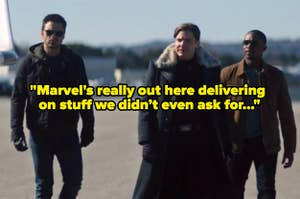 Bucky, Zemo, and Sam walking towards a private jet, looking cool, with text reading,