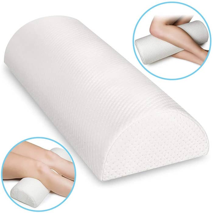 The pillow wedge with close-ups of the pillow between someone knees