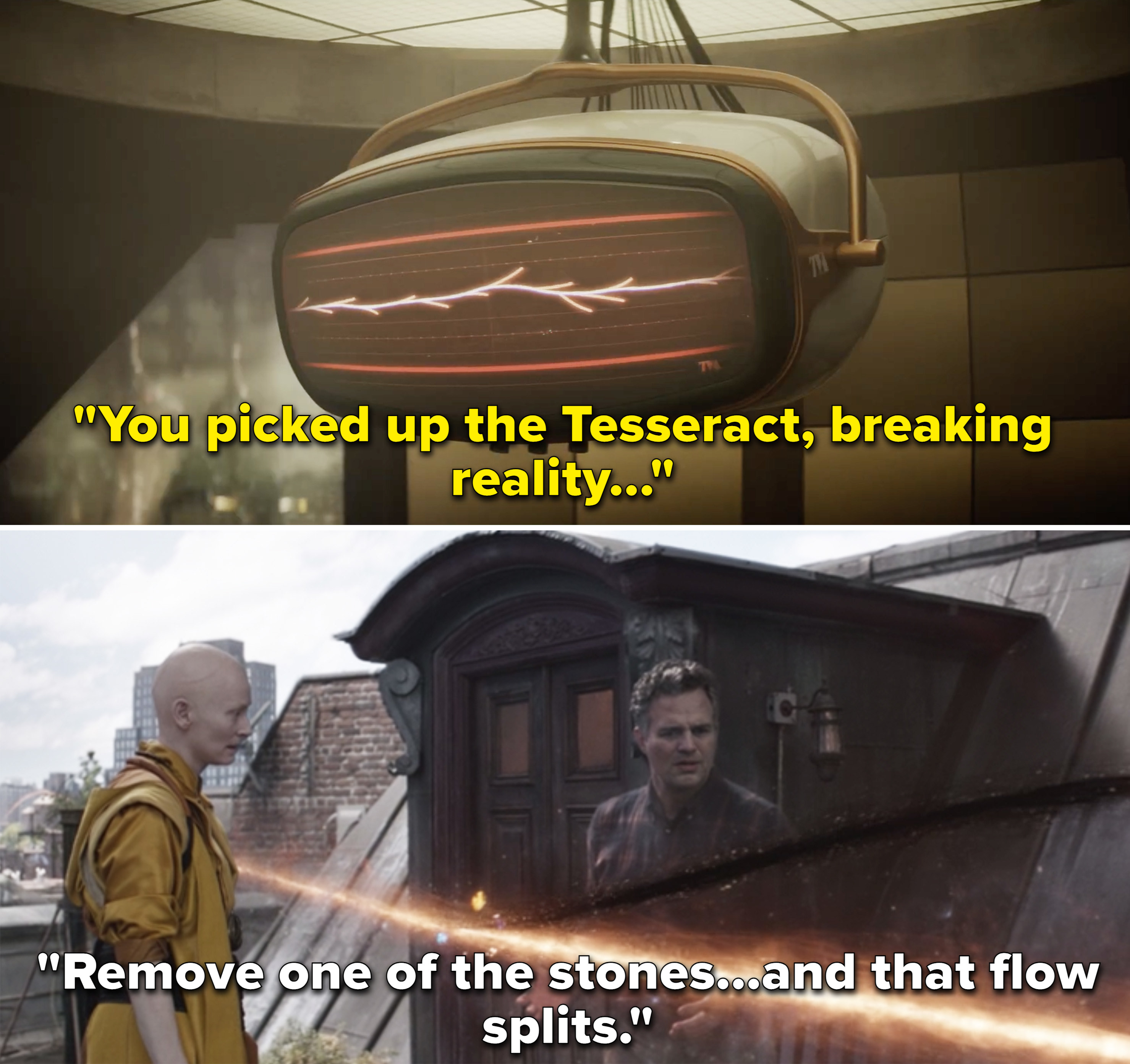 """Mobius saying, """"You picked up the Tesseract, breaking reality"""" vs. the Ancient One saying, """"Remove one of the stones and that flow splits"""""""