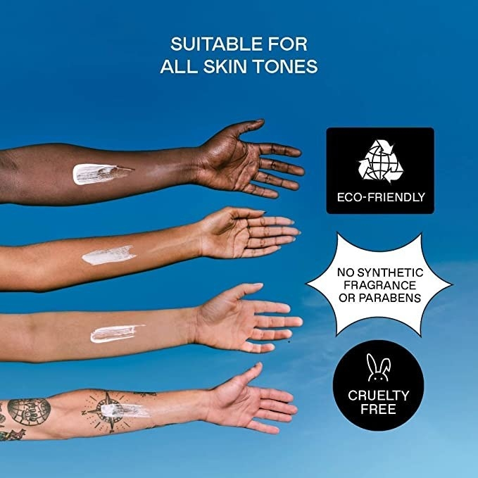 four models' forearms of varying skin tons witht he sunscreen on it