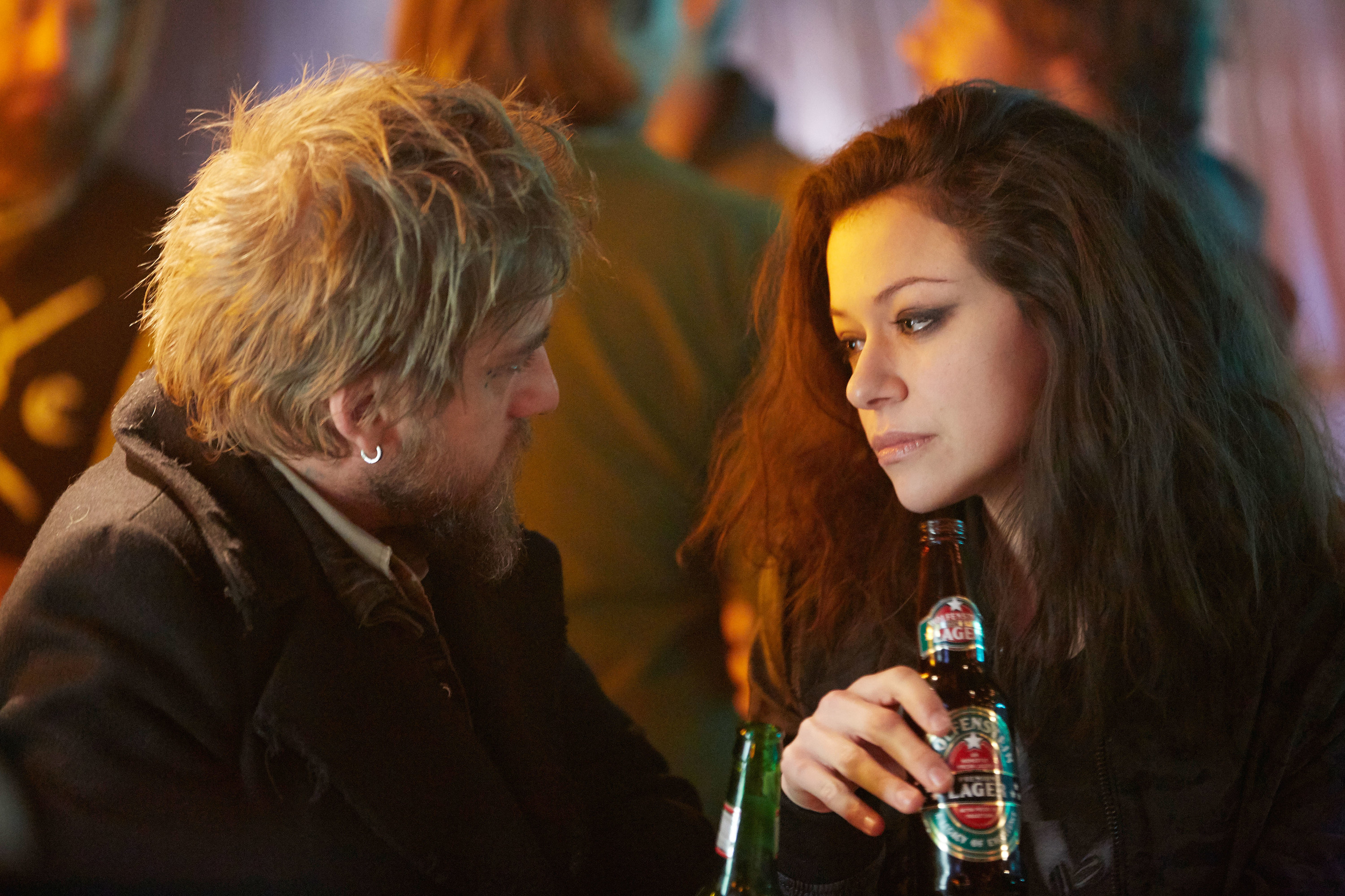 ORPHAN BLACK, (from left): Joel Thomas Hynes, Tatiana Maslany (as Sarah), 'The Antisocialism of Sex', (Season 4, ep. 407, airs May 26, 2016)