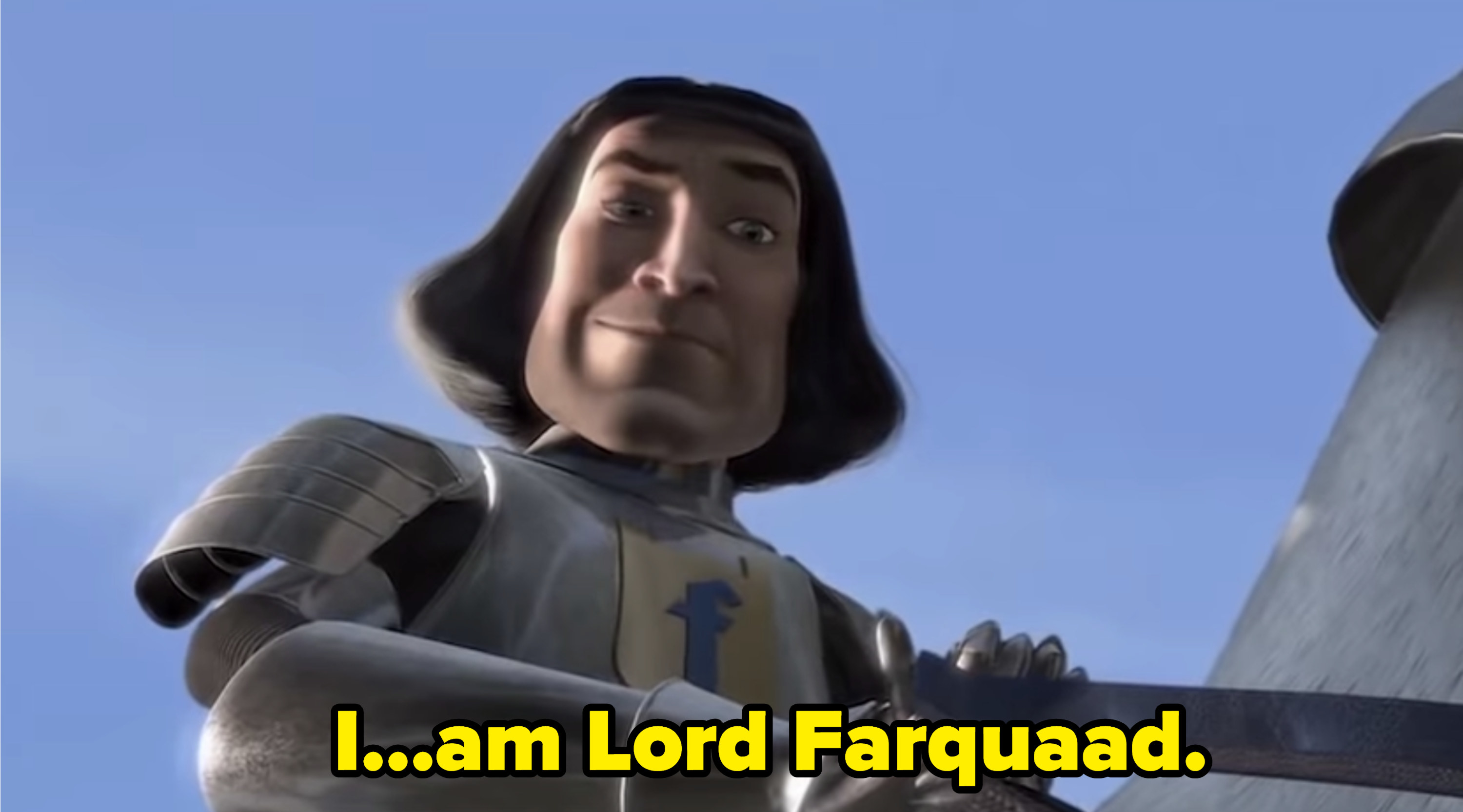 Lord Farquaad on top of a horse, introducing himself to Fiona