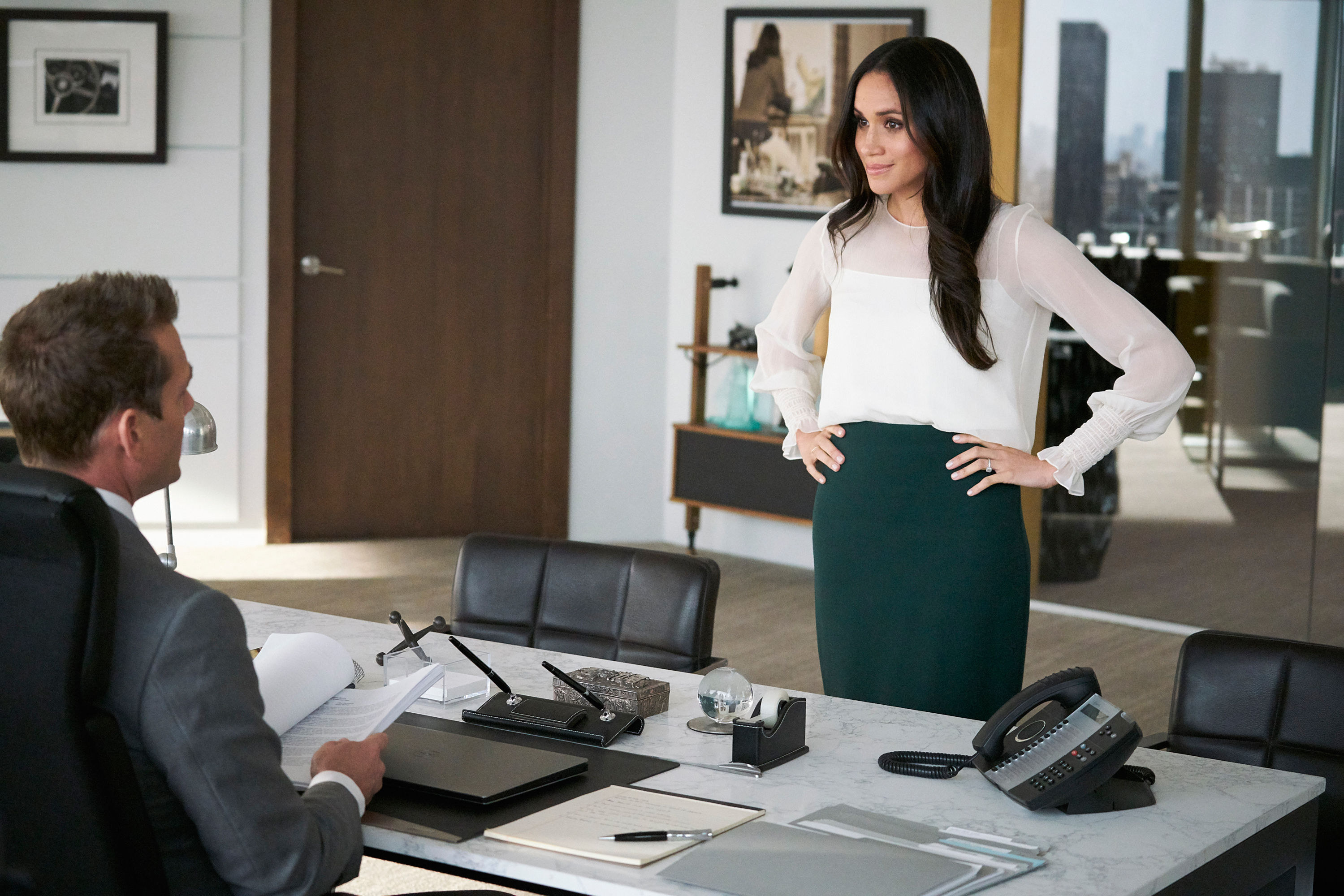 SUITS, Gabriel Macht, Meghan Markle in 'Tiny Violin', (Season 7, Episode 715, aired April 11, 2018