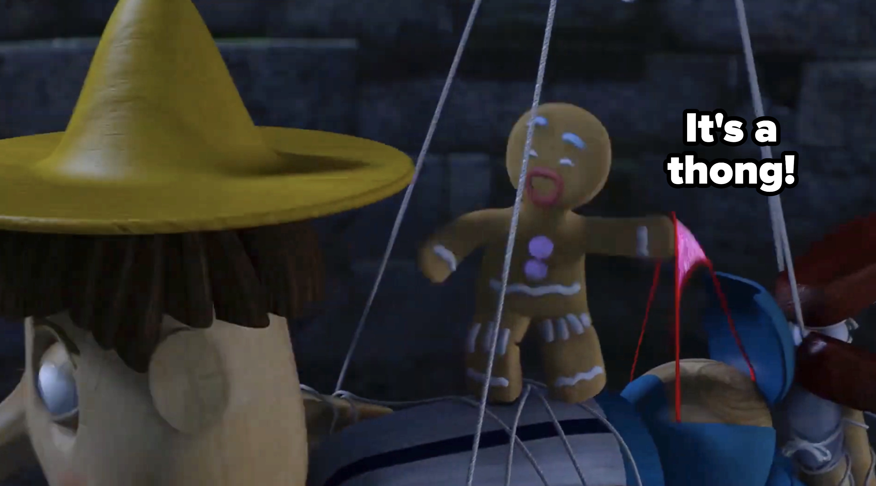 "Gingy pulling at Pinocchio's thong, screaming: ""It's a thong!"""