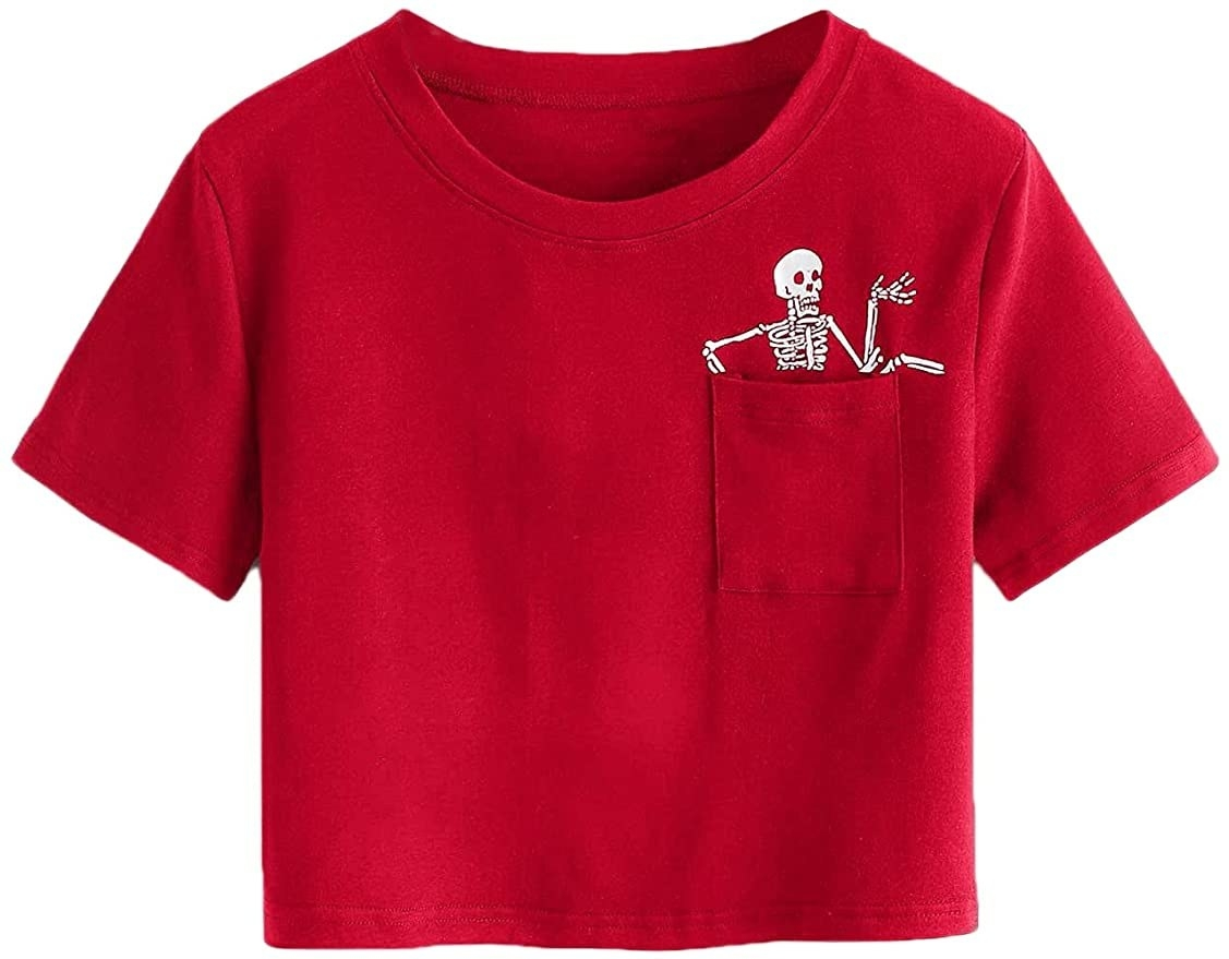 red crop T-shirt with a breast pocket that has a skeleton climbing out of it.