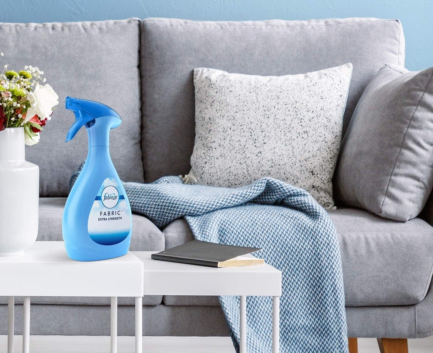 A living room with a bottle of Febreze on a coffee table in front of a couch